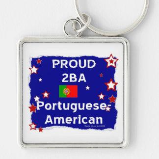 2BA orgulloso Portugués-Americano Llavero Cuadrado Plateado