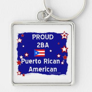 2BA orgulloso Puerto Rican-Americano Llavero Cuadrado Plateado