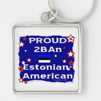 2BAn orgulloso Estonio-Americano Llavero Cuadrado Plateado