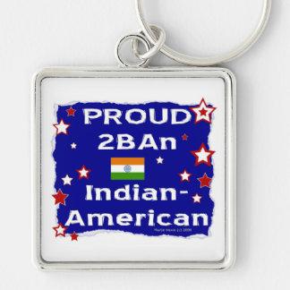 2BAn orgulloso Indio-Americano Llavero Cuadrado Plateado
