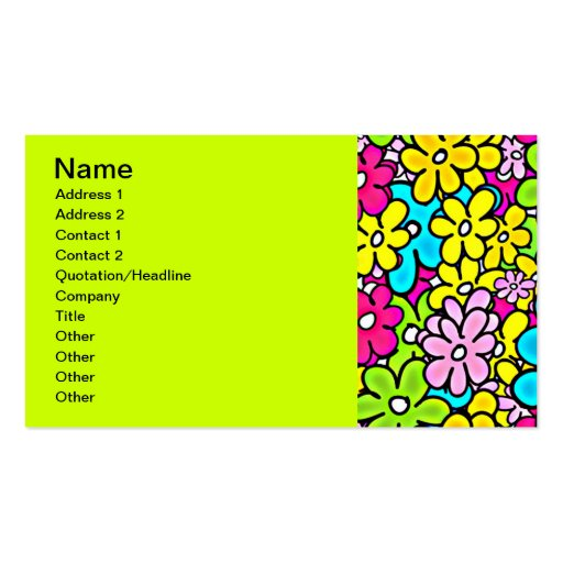 2bght BRIGHT COLORFUL FLOWERS PATTERN FUN PARTY Y Double-Sided Standard Business Cards (Pack Of 100)