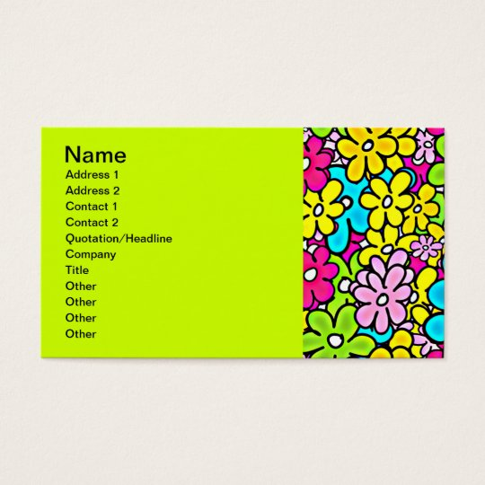 2bght BRIGHT COLORFUL FLOWERS PATTERN FUN PARTY Y Business Card
