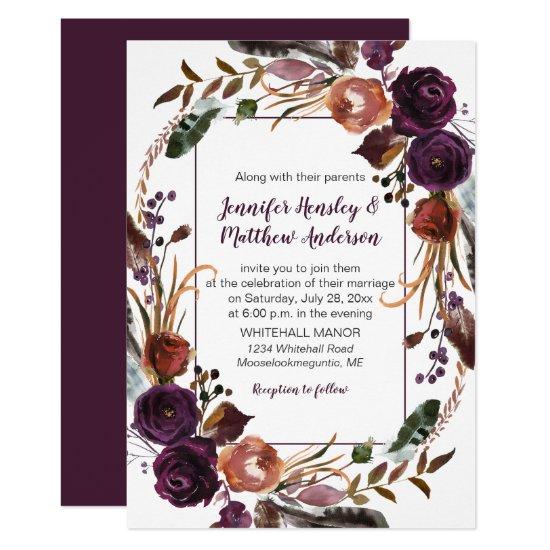 #2Butter Rum Rust Dark Purple Roses Wreath Wedding Invitation