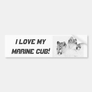 2COUGARSHEADS-DRAWING, I love my Marine cub! Bumper Sticker