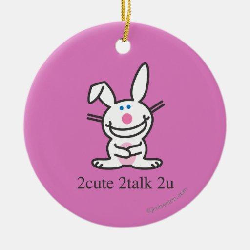 2cute 2talk 2u Double-Sided ceramic round christmas ornament