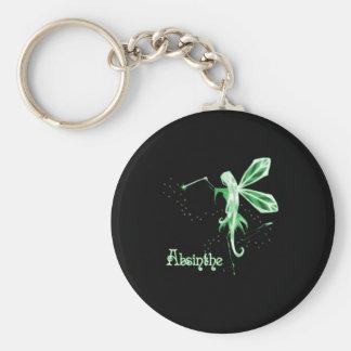 2D Absinthe Green Fairy Sketch Basic Round Button Keychain