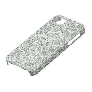 2D Flat, Printed Silver Faux Jewels iPhone 5 Case