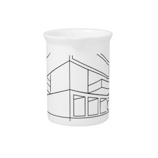2D perspective drawing of a house Beverage Pitcher