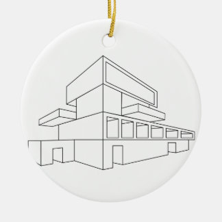 2D perspective drawing of a house Ceramic Ornament