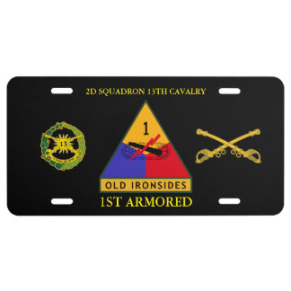 2D SQDN 13TH CAVALRY 1ST ARMORED LICENSE PLATE