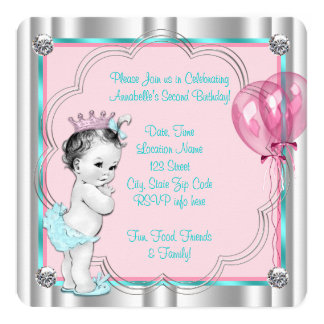 """2da cumpleaños fiesta del rosa y del trullo de la invitación 5.25"""" x 5.25"""""""