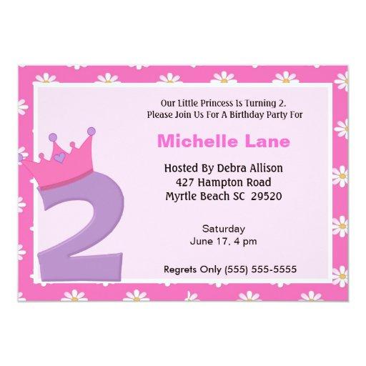 2da cumpleaños invitación de la princesa invitación 12,7 x 17,8 cm