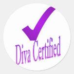 2da edición certificada diva pegatina redonda