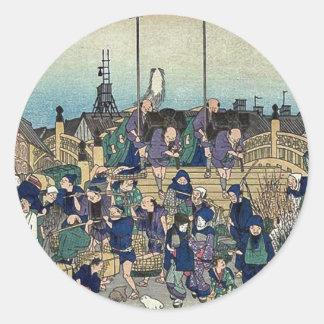 2da edición de Nihonbashi por Ando, Hiroshige Pegatinas Redondas