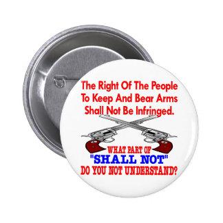 2da enmienda del blanco no entender pin redondo de 2 pulgadas
