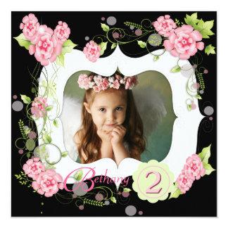 2da fiesta de cumpleaños de la foto color de rosa comunicado personal