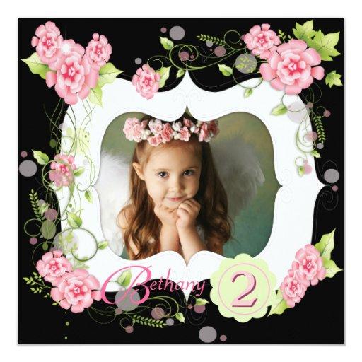 """2da fiesta de cumpleaños de la foto color de rosa invitación 5.25"""" x 5.25"""""""
