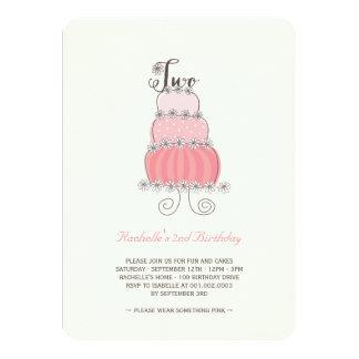 """2da fiesta de cumpleaños de la niña rosada invitación 4.5"""" x 6.25"""""""