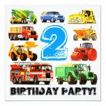 2da fiesta de cumpleaños de los camiones grandes invitación 13,3 cm x 13,3cm