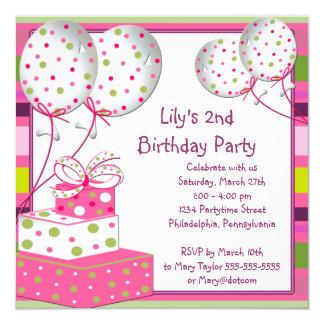 """2da fiesta de cumpleaños de los chicas rosados de invitación 5.25"""" x 5.25"""""""