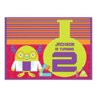 2da fiesta de cumpleaños del científico enojado invitación 12,7 x 17,8 cm
