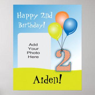 2da foto del cumpleaños del niño coloreado de los posters