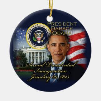 2da inauguración de presidente Obama Adorno Navideño Redondo De Cerámica
