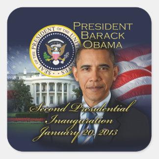 2da inauguración de presidente Obama Pegatinas Cuadradases Personalizadas