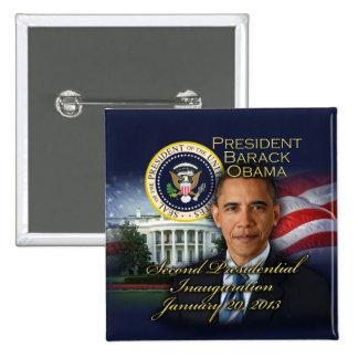 2da inauguración de presidente Obama Pin Cuadrado