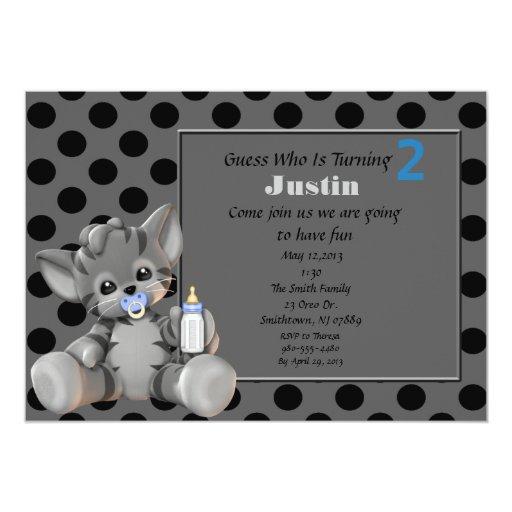 2da invitación del cumpleaños del gatito gris de