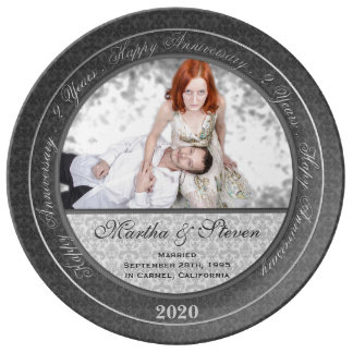 2da placa de la foto del aniversario de boda de la platos de cerámica