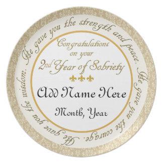 2da placa personalizada del aniversario de la sobr plato para fiesta