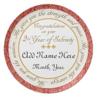 2da placa personalizada del aniversario de la sobr plato