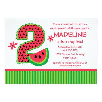 """2da raya del cumpleaños de la sandía invitación 5"""" x 7"""""""