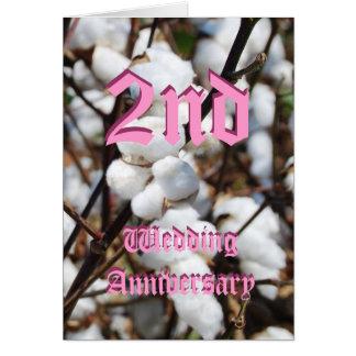 2da tarjeta del aniversario de boda - algodón