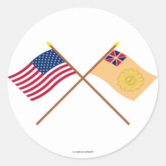 2das banderas cruzadas del regimiento de los pegatinas redondas