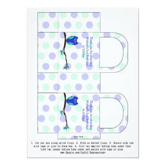 2das cajas del favor del cumpleaños del búho azul invitaciones personalizada
