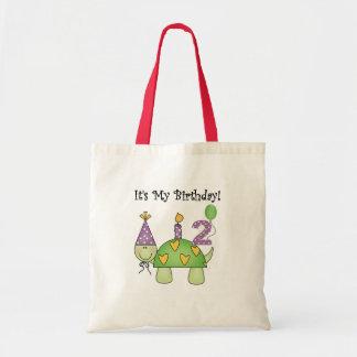 2das camisetas y regalos del cumpleaños de la tort bolsa lienzo