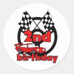 2das camisetas y regalos del cumpleaños de las car pegatinas