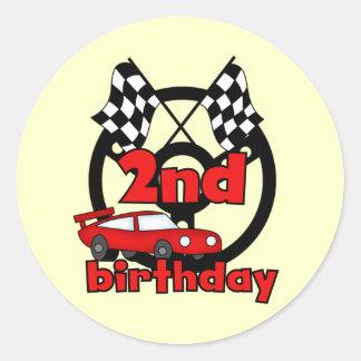 2das camisetas y regalos del cumpleaños de las pegatina redonda