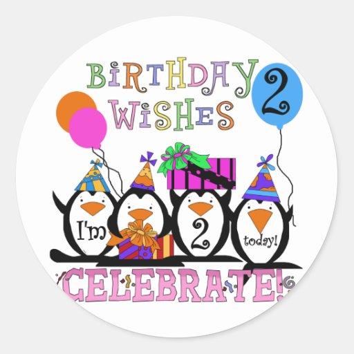 2das camisetas y regalos del cumpleaños de los pegatina redonda