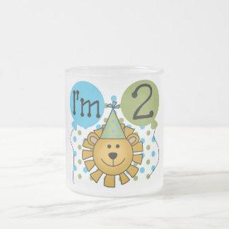 2das camisetas y regalos del cumpleaños del león taza de cristal