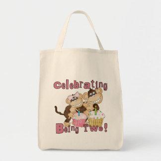 2das camisetas y regalos del cumpleaños del mono r bolsa de mano