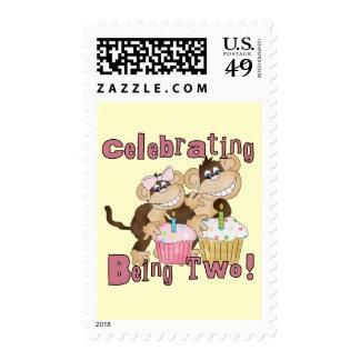 2das camisetas y regalos del cumpleaños del mono sellos