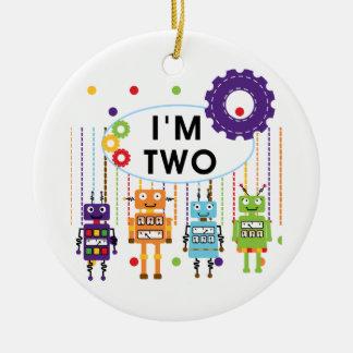 2das camisetas y regalos del cumpleaños del robot adorno navideño redondo de cerámica