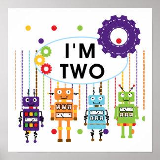 2das camisetas y regalos del cumpleaños del robot póster