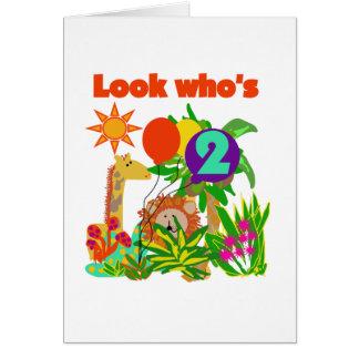 2das camisetas y regalos del cumpleaños del safari tarjeta de felicitación