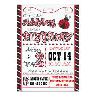 """2das invitaciones del cumpleaños de Addybug Invitación 5"""" X 7"""""""