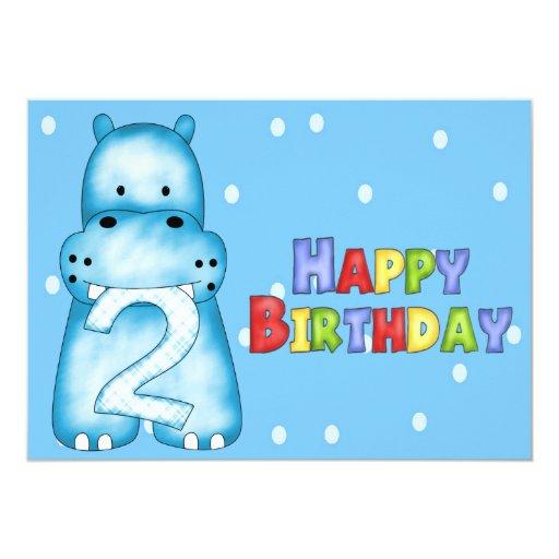 2das invitaciones del cumpleaños del hipopótamo comunicados personales
