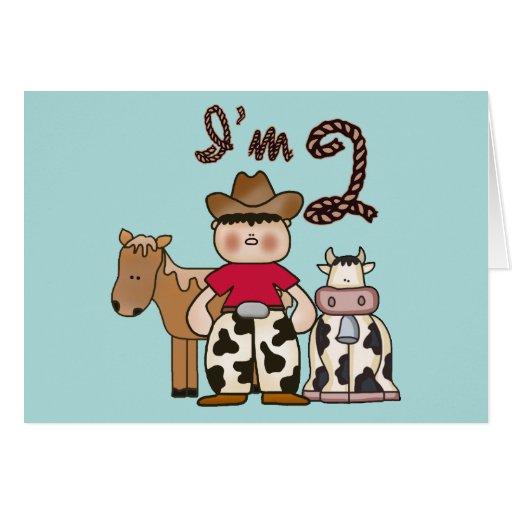 2das invitaciones del cumpleaños del vaquero tarjeta pequeña